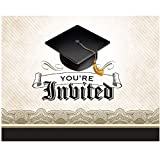 Creative Converting 892216B 25 Count Cap and Gown Graduation Invitation Cards, Multicolor