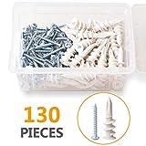 VIGRUE Plastic Self Drilling Drywall Anchors with Screws Kit, 130pcs Hallow Wall Anchors Set