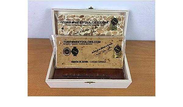 Turrones Fabián Caja con Tapa Pequeña - Madera Natural de Chopo - 20cm x 7cm x 6,5cm - Visagras y Cierre Doradas: Amazon.es: Hogar