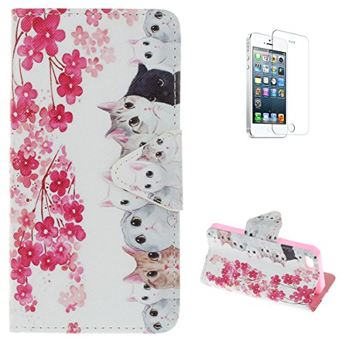 iPhone5/5s/SE Flip Wallet Case,KaseHom Premium Leather Holster [Free Screen Protector] with Dual Card Slots Kickstand Colourful Pattern Build in Rubber Shockproof Bumper Cover Cute Cat -