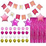 PINK HAPPY BIRTHDAY BANNER DECORATIONS - Hot Pink Metallic Foil Fringe Shiny ...