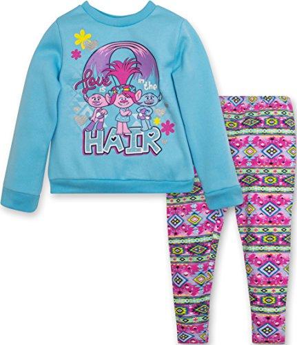 Price comparison product image Trolls Poppy Toddler Girls' Fleece Top and Leggings Set Blue (3T)