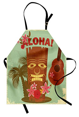Lunarable Vintage Hawaii Apron, Old School Hawaiian Image with Mask Floral Elements Guitar and Palm Trees, Unisex Kitchen Bib Apron with Adjustable Neck for Cooking Baking Gardening, Almond Green ()