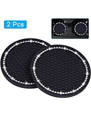 "Bling Car Coasters, Wisdompro 2 Pack PVC Car Cup Holder Insert Coaster - Anti Slip Universal Vehicle Interior Accessories Crystal Glitter Cup Mats for Women and Men(2.75"" Diameter, Black)"
