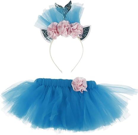 FLAMEER Vestidos para Niñas Falda de Tutú Azul Princesa Vestido ...