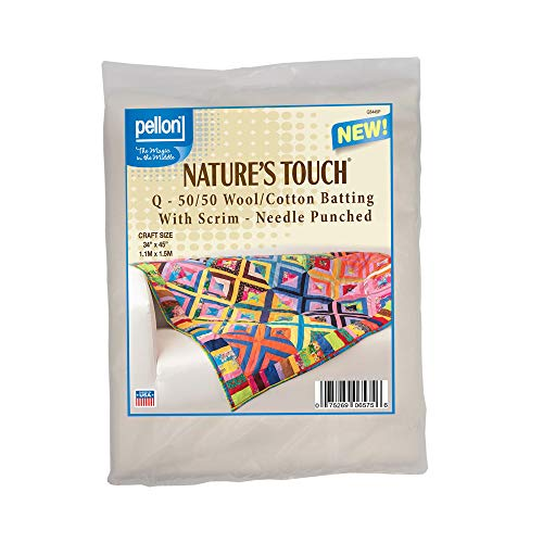 (Pellon Q - 50/50 Wool/Cotton Batting with Scrim - Needle Punched. Craft Size: 34in x 45in Package)