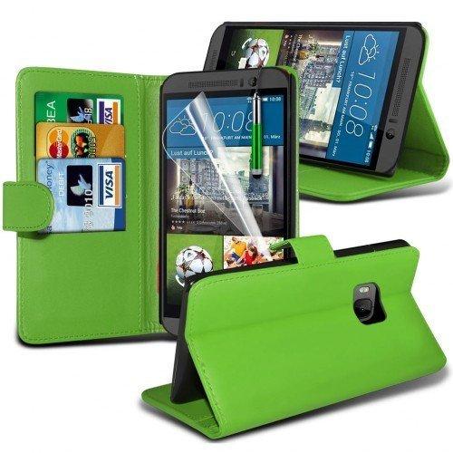 HTC One M9 Cubierta del caso con cuero (Verde) Plus de regalo libre, Protector de pantalla y un lápiz óptico, Solicitar ahora mejor caja del teléfono Valorado en Amazon! By FinestPhoneCases