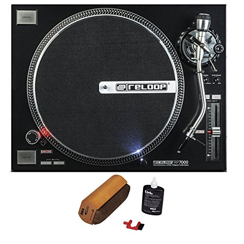 Reloop RP-7000 Quartz Driven DJ Turntable with Upper-Torque Direct Drive, Black with RCA D4+ Vinyl Record Cleaning Fluid System