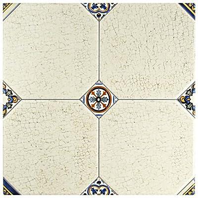 """SomerTile FEM13MNB Maises Ceramic Floor and Wall Tile, 13.125"""" x 13.125"""", Cream/Blue/Orange/Black/Green/White"""