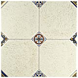 SomerTile FEM13MNB Maises Ceramic Floor and Wall Tile, 13.125'' x 13.125'', Cream/Blue/Orange/Black/Green/White