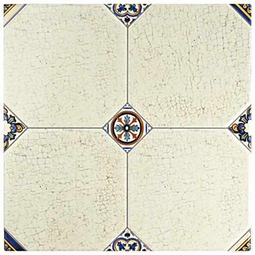 Cream Floor Tile - SomerTile FEM13MNB Maises Ceramic Floor and Wall Tile, 13.125