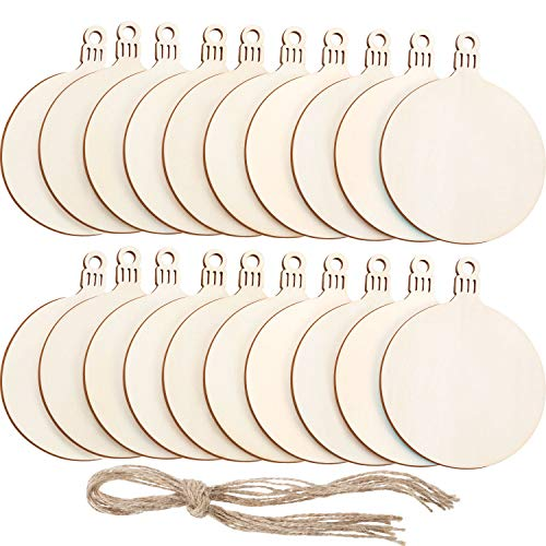 Tatuo 50 Pieces Unfinished Wood Ornaments Wood Ornament Slices Round Wood Pieces Embellishments for Christmas Decoration Hanging and DIY Craft
