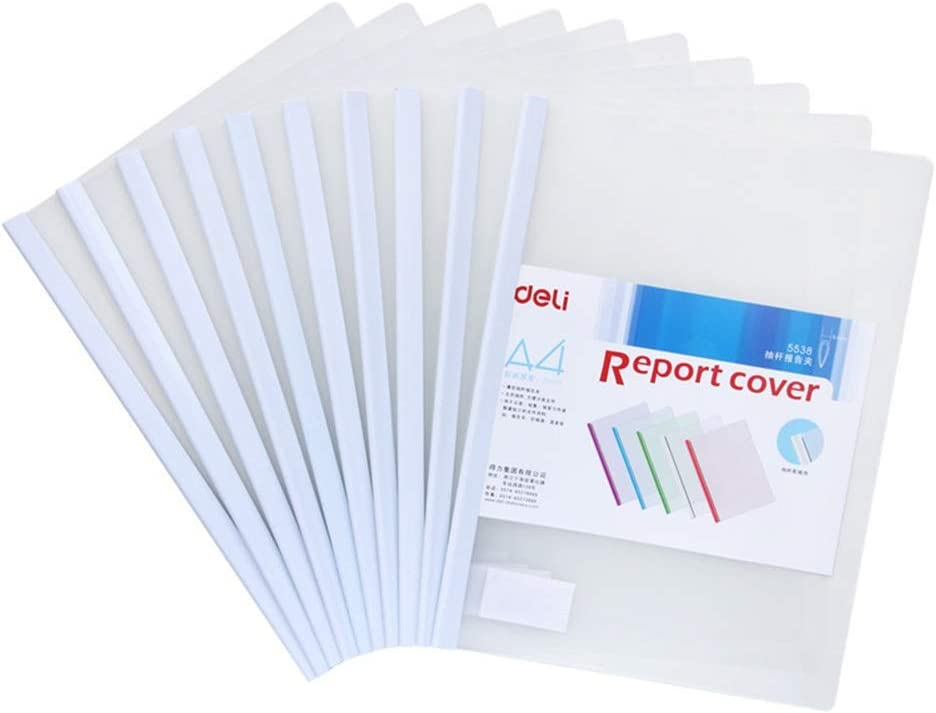 MDYYD Folder 10 Pieces A4 Sliding Bar Binder Transparent Report Covers Folder for Documents Classification File Folder with Fasteners Color : White, Size : Free Size