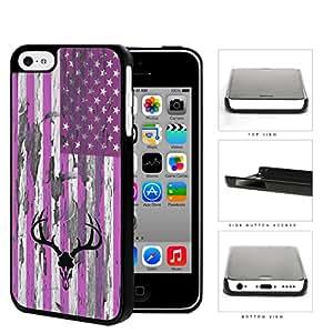 PINK Deer Hunter Skull Bones Antlers on USA Flag & Wood Background iPhone 5c Hard Snap on Plastic Cell Phone Cover