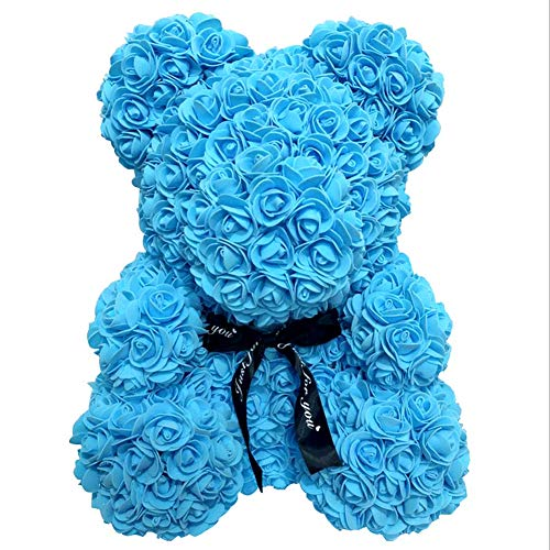 Unigds Artificial Rose Bear 40cm/25cm Rose Flower Bear for Birthday/Anniversary/Wedding/Christmas Decor/Valentine's Day/Mother's Day/Graduation Gift (Blue, ()