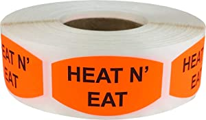 Heat N' Eat Grocery Store Food Labels .75 x 1.375 Inch Oval Shape 500 Total Adhesive Stickers