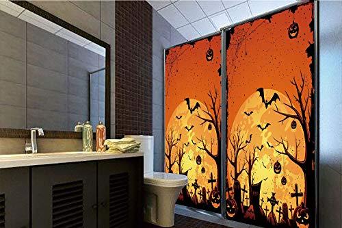 Horrisophie dodo 3D Privacy Window Film No Glue,Halloween,Grungy Graveyard Cemetery Necropolis with Bats Pumpkins Crosses Cobweb Decorative,Orange Brown Black,47.24
