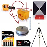 Pacific Laser Systems PLS 4 Red W/ Grade Rod, Laser Detector, Tripod, Adapter, Target, Batteries & Cleaning Cloth