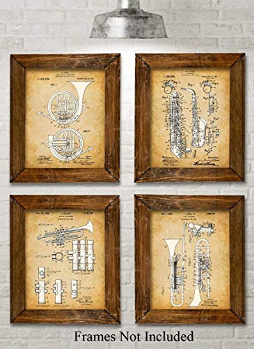 Original Horns/Instruments Patent Art Prints - Set of Four Photos (8x10) Unframed - Makes a Great Gift Under $20 for Musicians