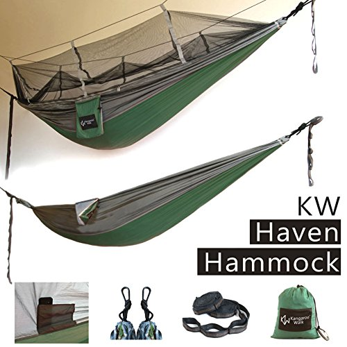 Haven Hammock by Kangaroo Walk • All in One Bundle with Easy Setup • Mosquito Net Protection Optional • Quality Portable & Lightweight Tree Camping Hammock • New Product, Limited Special Price Optional Swing