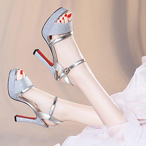 SHOESHAOGE Sandales À Talon Haut Les Poissons Femelles Embout Étanche Pour Taiwan D'Épaisseur Avec Des Chaussures Femmes EU33/UK1.32 6miQIwXRW4