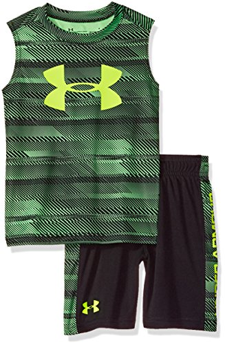 Under Armour Boys' Little UA Muscle Tank and Short Set, Laser Green, 5 by Under Armour
