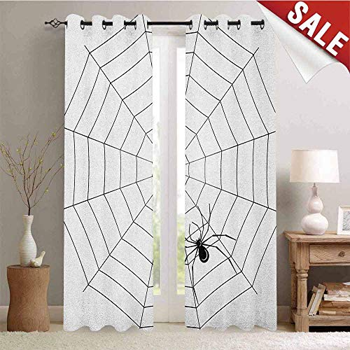 Hengshu Spider Web Customized Curtains Toxic Poisonous Insect Thread Crawly Malicious Bug Halloween Character Design Blackout Window Curtain W96 x L108 Inch Black White