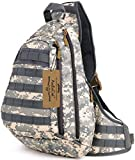 ArcEnCiel Tactical Military Sling Chest Pack Bag Molle Daypack Backpack Large Shoulder Bag Crossbody Heavy Duty Gear For Hunting Camping Trekking (ACU Camouflage)