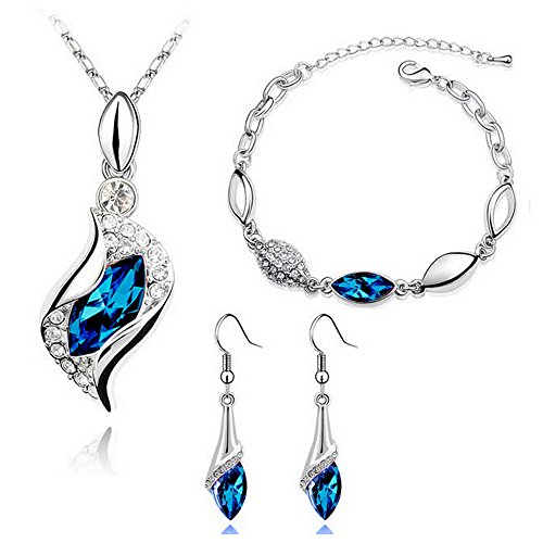 HSG New Fashion Jewelry Set Peacock Blue Color Necklace & Bracelet & Earrings (Peacock Wedding Colors)