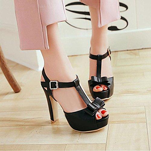 Chicas Bowknot Alto Tacón Elegantes con Toe De Mujer Black Zapatos Peep Sandalias Sandalias dx8XqYn