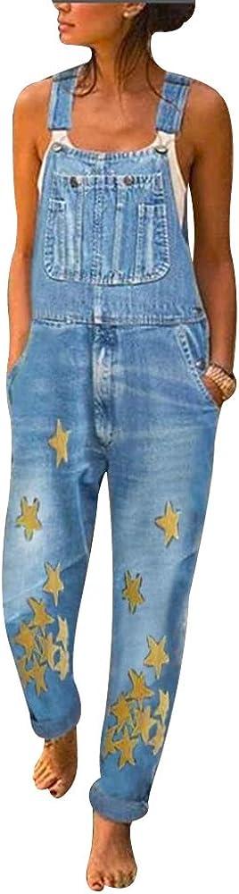 Manooby Latzhose Damen Jeans Langer Overall Blumen Jeansoptik Klasse Vintage Jeans Lang L/ässig Baggy Boyfriend Stylisch Jumpsuit H/üftjeans