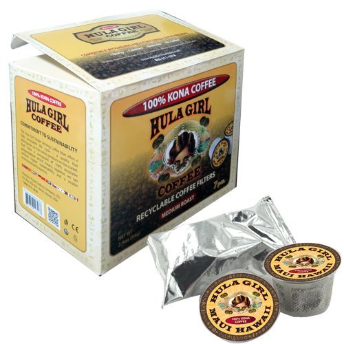 Hula Girl 100% Kona Coffee Single Servings - For Keurig K-cup Brewers 7 Pack Box 2.9oz(84g)