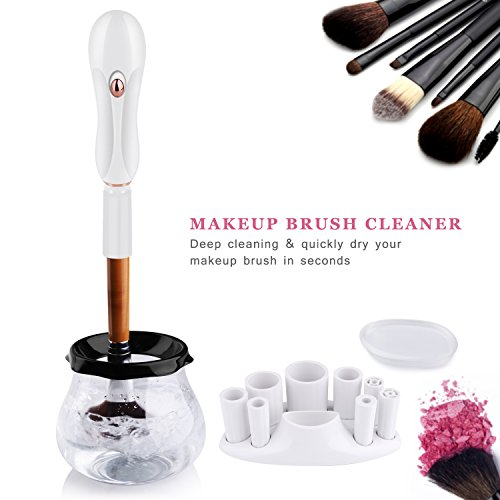 Electric Makeup Brush Cleaner and Dryer, LOGROTATE Portable Brushes Cleaner Machine Kit Cleans and Dry Makeup Brushes in Seconds for All Sizes of Makeup Brushes(white)-One Silicone Puff Included