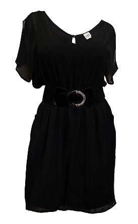 c27582284db eVogues Plus Size Split Back Chiffon Dress Black - 1X at Amazon Women s  Clothing store  Casual
