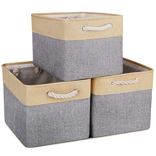 WISELIFE Storage Baskets [3-Pack] Collapsible Canvas Storage Bins for Toys Shoes Decorative Cloth Baskets Boxes for…