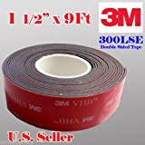 3m 1.5'' (38mm, 1-1/2'')) X 9 Ft VHB Double Sided Foam Adhesive Tape 5952 Grey Automotive Mounting Very High Bond Strong Industrial Grade