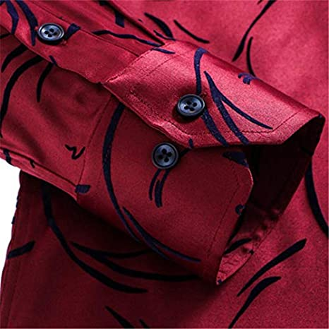 WHFDNSCS Men Shirt Printed Casual Long Sleeve Business Chemise Homme Man Plus Size