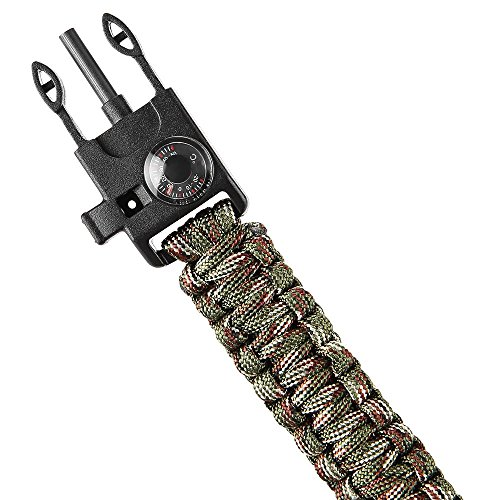 Wooboo 5 in 1 Outdoor Survival Gear Escape Paracord Bracelet Flint Whistle Compass Scraper(Camouflage)
