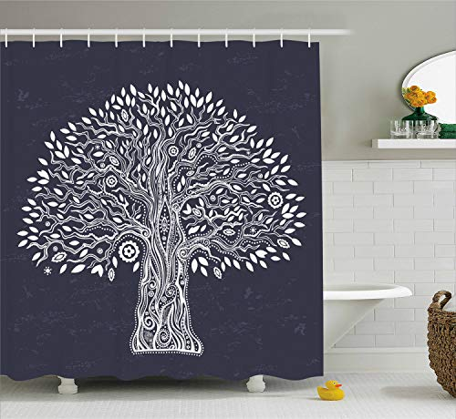Tree of Life Shower Curtain by Ambesonne, Unique Ethnic Tree Illustration Pure and Noble in Majestic Mother Nature, Fabric Bathroom Decor Set with Hooks, 75 Inches Long, Dark Grey White