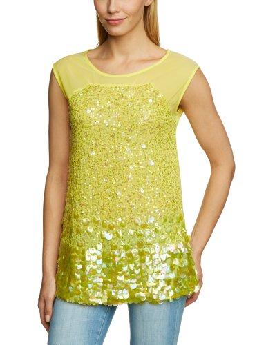 Shivadiva Fit Sin Amarillo yellow Cuello Para Con Mangas Lime Camiseta Mujer Slim Redondo rIrFqaw