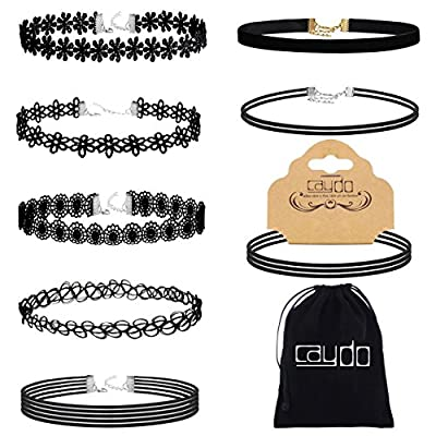 Caydo 8 Pieces Black Choker Necklace Lace Choker Tattoo Necklace for Women Girls by Caydo