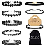 Image of Caydo 8 Pieces Black Choker Necklace Lace Choker Tattoo Necklace for Women Girls