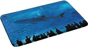 "Shark Original Luxury Flannel Bathroom Rug Mat Aquarium Park and People 17.5"" x 29.5"""