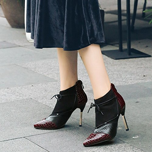 Btrada Dames Dunne Hak Enkellaarzen Hoge Hak Laarzen Sexy Mode Met Zachte Nap Wijnrood