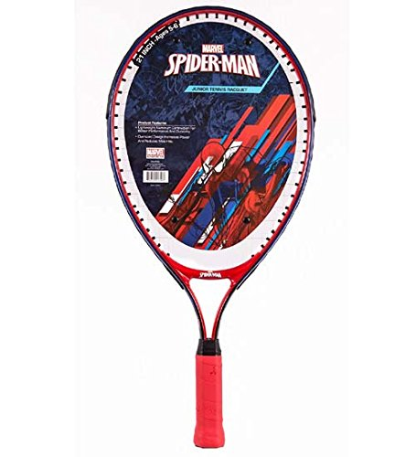 Official Spider-Man Junior Tennis Racquet with Happy Face Vibration Dampener (21 inch)