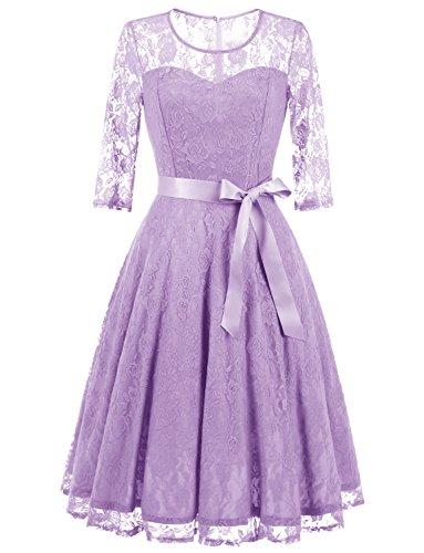 Dressystar 0017 Women's Elegant Floral Lace Dress 3/4 Sleeves Bridesmaid Midi Dresses Illusion Neckline Lavender L