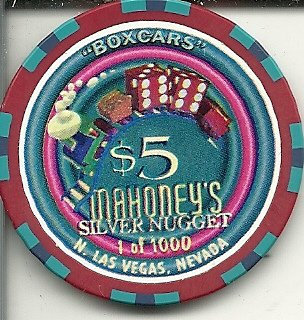$5 mahoney's silver nugget casino boxcars dice las vegas casino chip