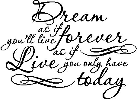 Dream As If You'll Live Forever, Live As If You Only Have Today.....Inspiring Wall Decal Quote Words Removable Dream Wall Sticker Lettering (17