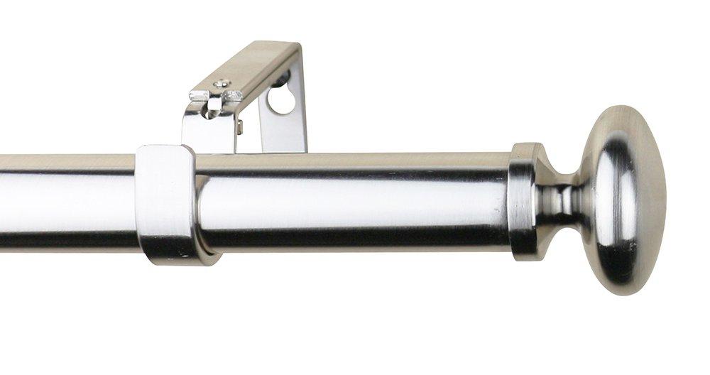 Meriville 1-Inch Diameter Prima Single Window Treatment Curtain Rod Black 28-Inch to 48-Inch