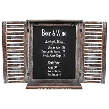 Rustic Vintage Wood Standing Chalkboard / Wall Mounting Blackboard w/ Folding Shutter Doors - MyGift®